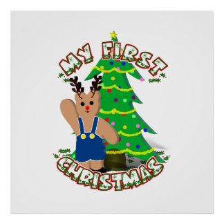 Reindeer Boy Bear - Baby's 1st Christmas Poster