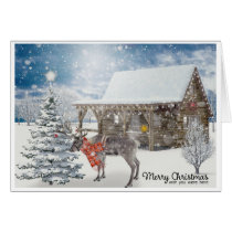 Reindeer Cabin Snow Scene Wish You Were Christmas Card