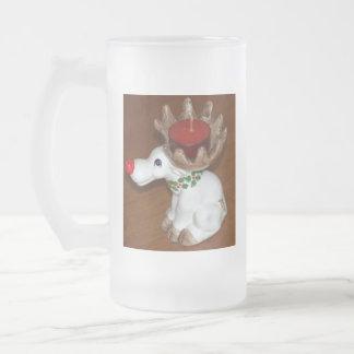 Reindeer-Candle Frosted Glass Beer Mug