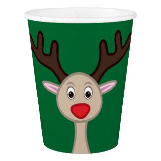 Reindeer cartoon character paper cup