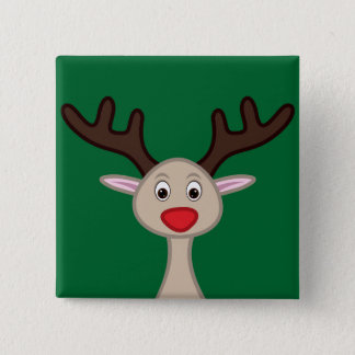 Reindeer cartoon character pinback button