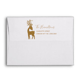 Reindeer Chic Gold Glitter Christmas Holiday Envelope