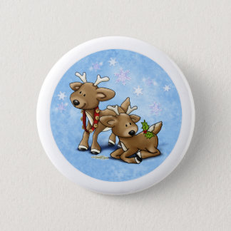 Reindeer Christmas Button