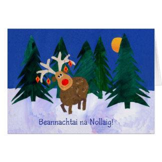 'Reindeer' Christmas Card with Irish Greeting