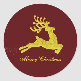 Reindeer Christmas gift label Round Stickers