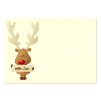 Reindeer Christmas gift tag Large Business Card