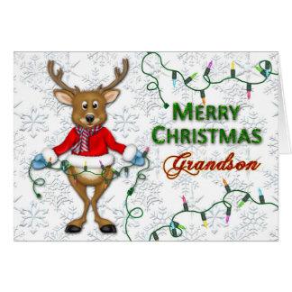 Reindeer Christmas- Grandson - Lights Greeting Card