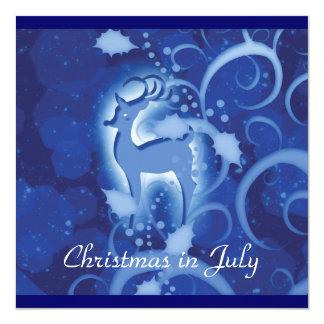 Reindeer Christmas July winter wonderland 5.25x5.25 Square Paper Invitation Card