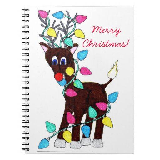 Reindeer Christmas Lights Spiral Notebook