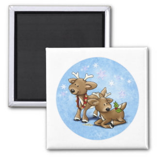 Reindeer Christmas 2 Inch Square Magnet