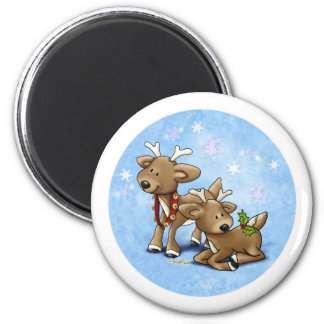 Reindeer Christmas 2 Inch Round Magnet