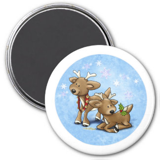 Reindeer Christmas 3 Inch Round Magnet