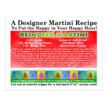 Reindeer Christmas Martini Recipe Postcard