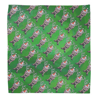 Reindeer Christmas On Green Bandana