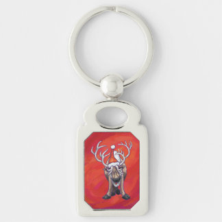Reindeer Christmas On Green Keychain