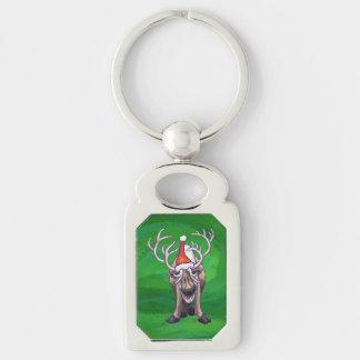 Reindeer Christmas On Green Keychain