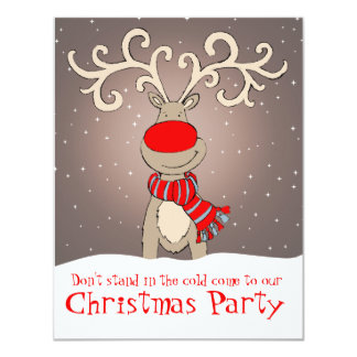 Reindeer christmas party invitation soft grey
