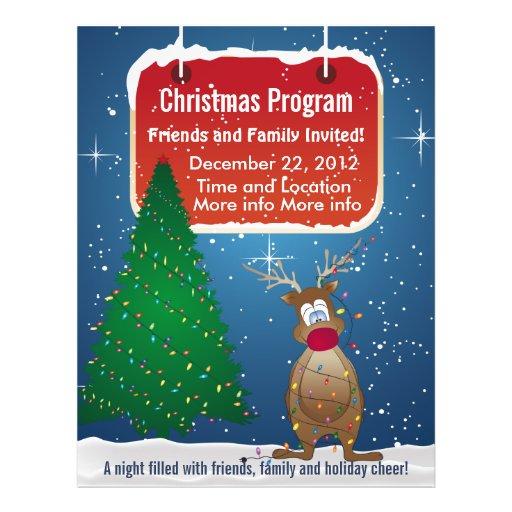 reindeer christmas program flyer zazzle. Black Bedroom Furniture Sets. Home Design Ideas