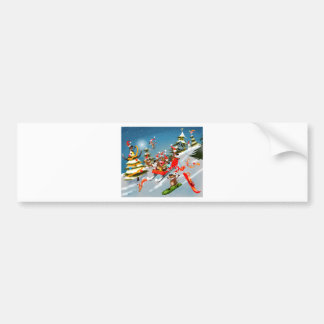 Reindeer Christmas sleigh ride Bumper Sticker