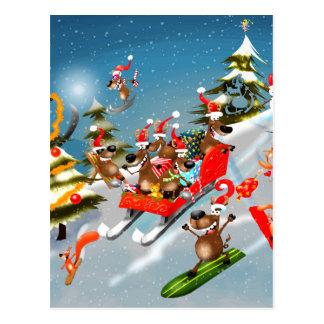 Reindeer Christmas sleigh ride Postcard