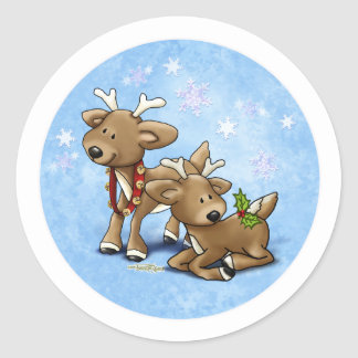 Reindeer Christmas Classic Round Sticker