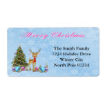 """Reindeer Christmas Tree Christmas Bulbs Label<br><div class=""""desc"""">Reindeer, Christmas Tree, Christmas Bulbs Christmas address labels will look great on your Holiday mailings. The light blue background with white snowflakes features a cute reindeer with Christmas bulbs on his antlers, decorated Christmas tree and blue, purple and pink Christmas bulbs. decorative text reads: Merry Christmas. These address labels also...</div>"""