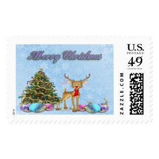 Reindeer Christmas Tree Christmas Bulbs Postage