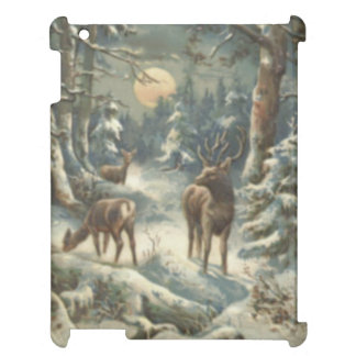 Reindeer Christmas Tree Evergreen Forest Snow iPad Case
