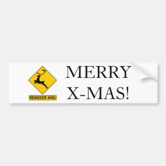 Reindeer Crossing Car Bumper Sticker