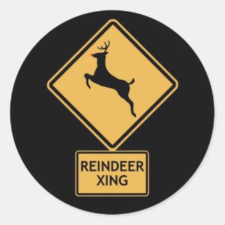 reindeer crossing classic round sticker
