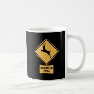 reindeer crossing coffee mug