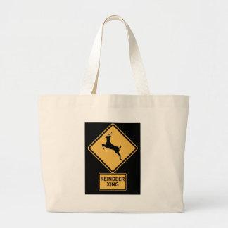 reindeer crossing large tote bag