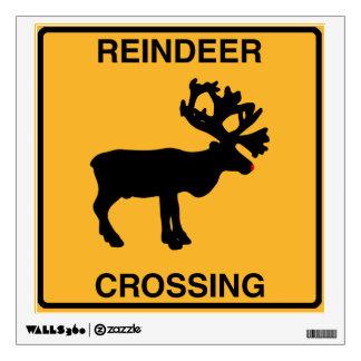 Reindeer Crossing Street Sign Wall Decal