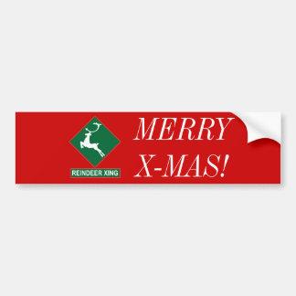 Reindeer Crossing (X-mas Colors) Car Bumper Sticker
