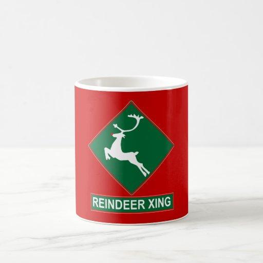 Reindeer Crossing (X-mas Colors) Coffee Mug