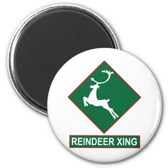 Reindeer Crossing (X-mas Colors) Magnet