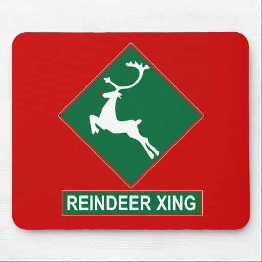 Reindeer Crossing (X-mas Colors) Mousepad