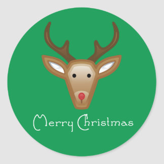 Reindeer Cupcake Toppers/Stickers Classic Round Sticker