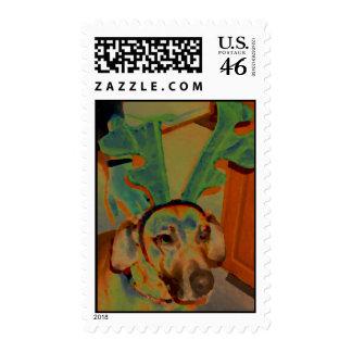 Reindeer Curtis Watercolor Postage Stamps