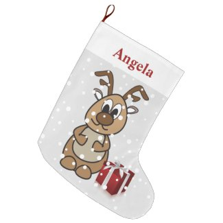 Reindeer Cute Personalized Name Large Christmas Stocking
