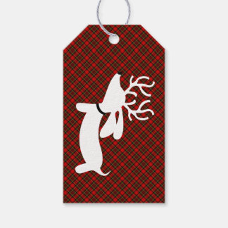 Reindeer Dachshund Christmas Gift Tag on Plaid Pack Of Gift Tags