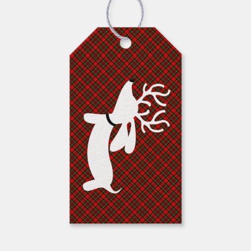 Reindeer Dachshund Christmas Gift Tag...