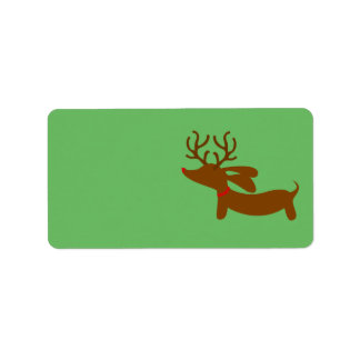 Reindeer Dachshund Christmas Gift Tag Stickers Label