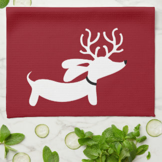 Reindeer Dachshund Holiday Green Dish Towel