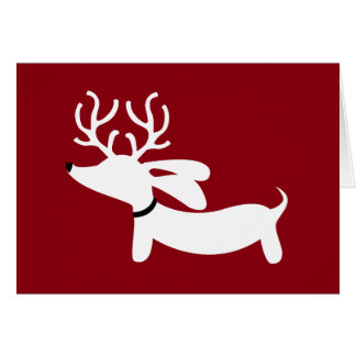 Reindeer Dachshund Holiday Greeting Card Doxie