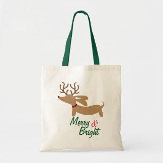 Reindeer Dachshund Merry & Bright Christmas Tote