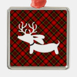 Reindeer Dachshund on red plaid Square Metal Christmas Ornament