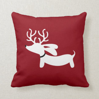 Reindeer Dachshund Pillow on Red