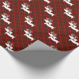 Plaid Dachshund Christmas Gift Wrap