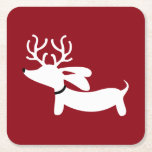 """Reindeer Dachshund Red Holiday Paper Coasters<br><div class=""""desc"""">Fun wiener dog and dachshund designs</div>"""